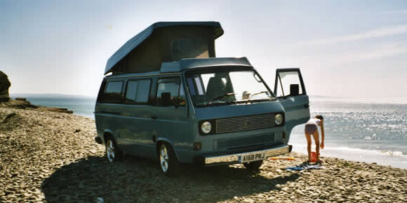 Van on beach